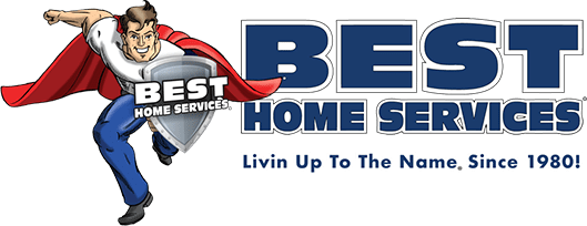 Best Home Services logo in blue, red and white