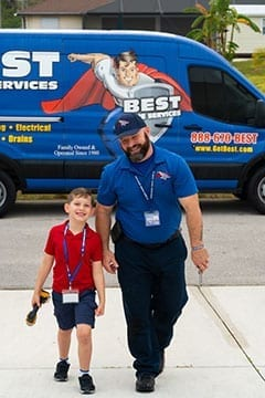 Best Home Service Staff Member Laughing with Kid
